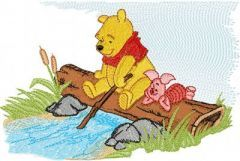 Winnie Pooh to the river embroidery design