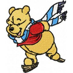 Winnie Pooh Skating embroidery design