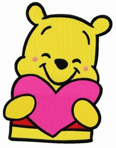Pooh with Valentine card embroidery design