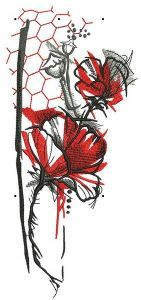 Poppies and honeycombs embroidery design