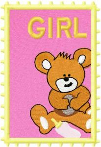 Postage stamp girl 4 embroidery design