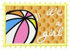 Postage stamp It's a girl embroidery design