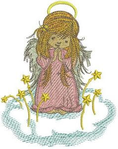 Praying angel embroidery design