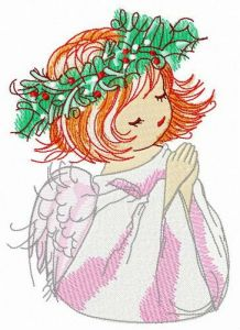 Praying before Christmas embroidery design