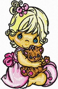 Precious Moments Girl and Toy embroidery design