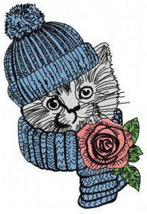 Pretty kitten 3 embroidery design