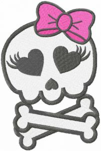 Pretty monster skull embroidery design