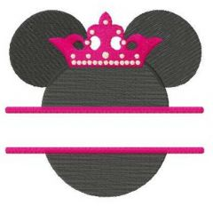 Princess Minnie monogram embroidery design