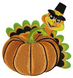 Pumpkin and turkey embroidery design