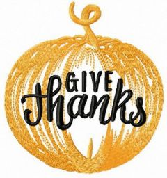 Pumpkin Give thanks embroidery design