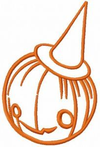 Pumpkin in hat embroidery design
