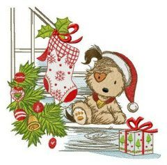 Puppy and Christmas eve embroidery design
