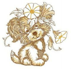 Puppy with bindweed wreath embroidery design