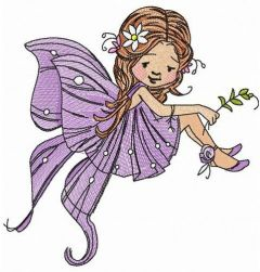 Purple winged fairy embroidery design