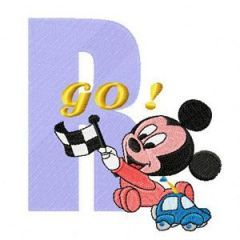 Mickey R Racing embroidery design