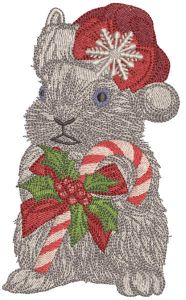 Rabbit meets Christmas embroidery design