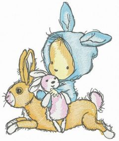 Rabbit riding embroidery design