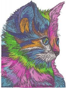 Rainbow kitten embroidery design
