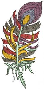 Rainbow feather 2 embroidery design