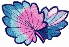 Rainbow leaves embroidery design