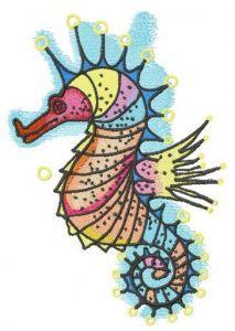 Rainbow sea horse embroidery design
