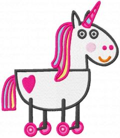 Rainbow toy horse embroidery design
