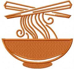 Hot ramen plate embroidery design