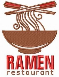 Ramen restaurant logo embroidery design
