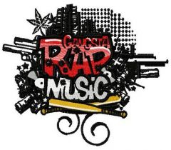 Rap music embroidery design