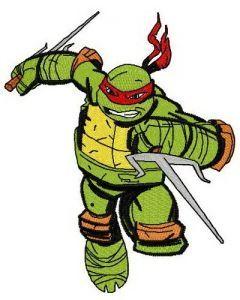 Raphael attacks embroidery design