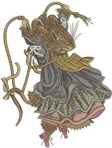 Rat jumping rope embroidery design