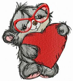 Reading Valentine card embroidery design