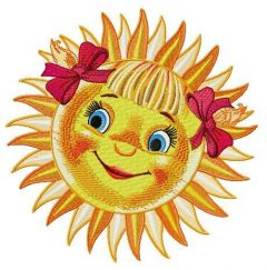 Red-cheeked sun embroidery design