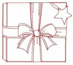 Red Christmas gift box embroidery design