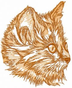 Red kitten sketch embroidery design