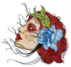 Red-haired girl embroidery design