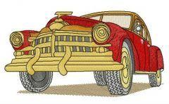 Red retro car embroidery design