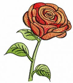 Red rose free embroidery design 4