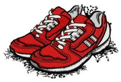 Red sneakers embroidery design