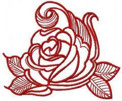 Red swirl rose free embroidery design