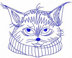 Cat with scarf redwork embroidery design