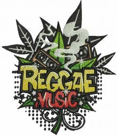 Reggae music embroidery design
