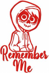 Remember me miguel one colored embroidery design