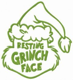 Resting Grinch face funny hat embroidery design