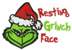Resting Grinch face horizontal embroidery design