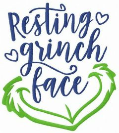 Resting Grinch face embroidery design
