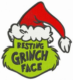 Resting Grinch face Santa hat embroidery design