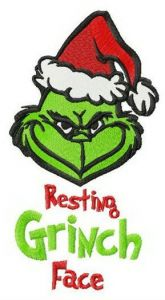 Resting Grinch face vertical embroidery design