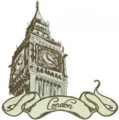 Retro London 2 embroidery design