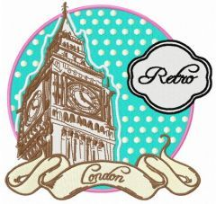 Retro London embroidery design